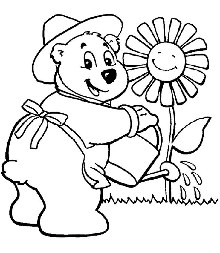 bears watering flower garden coloring pages for kids printable gardening coloring pages for kids