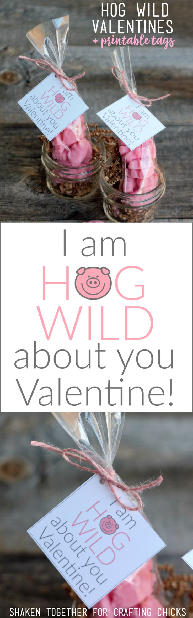 I Am Hog Wild About You Valentines - gummy pigs + printable tags = the cutest li...