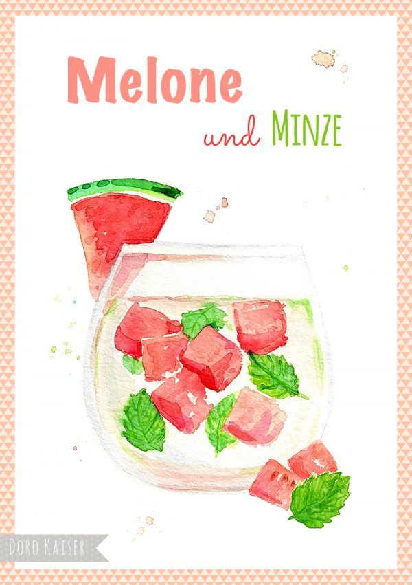 Food Illustration Infused Water - Wassermelone und Minze  | www.dorokaiser.online.de