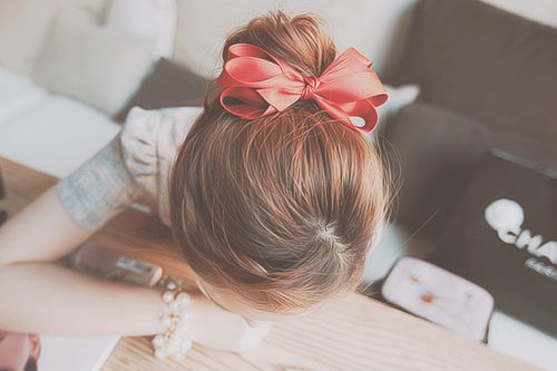 korean bun cute ribbon asian hairstyle pinterest
