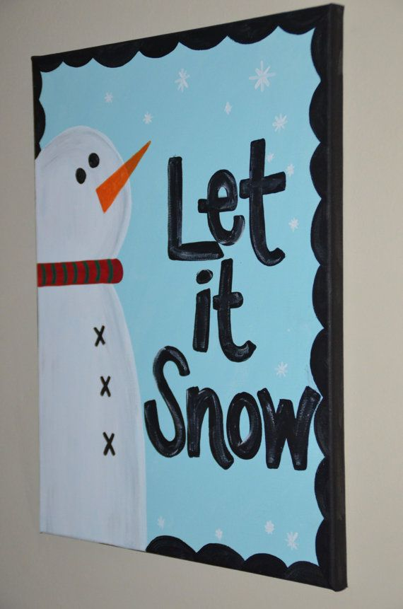 Let it Snow Winter Canvas by katieringer on Etsy, $30.00