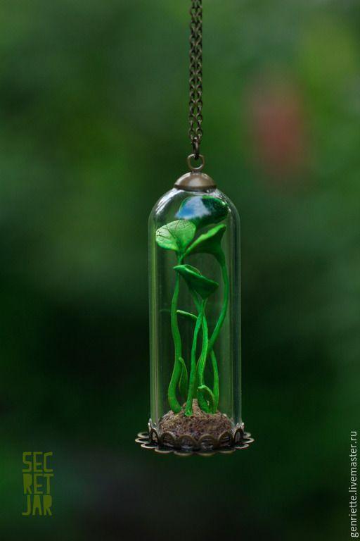 """Купить Подвеска """"Evergreen"""" - ярко-зелёный, зеленый, зелень, растения, растение, стекло, флорариум, флора"""