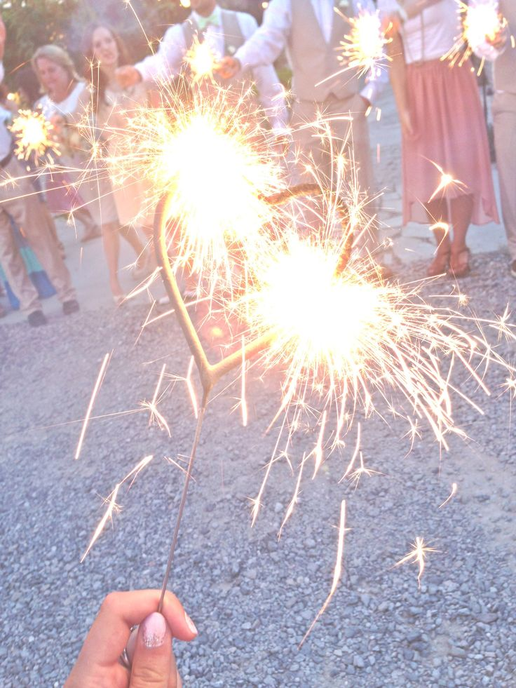 Heart Sparklers Send Off For The Wedding