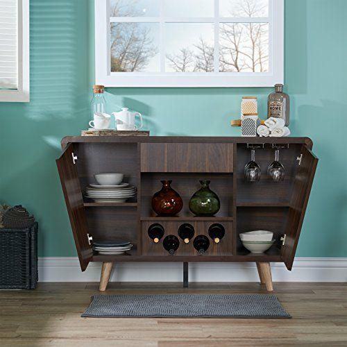 Midcentury Modern HOMES: Inside + Out Gwendalynn Modern Wine Rack Buffet Server, Dark Walnut