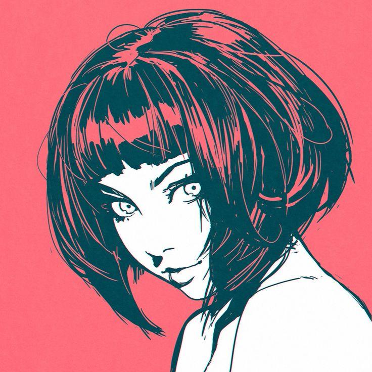 Bij deze afbeelding vond ik het interessant hoe de kleur van de achtergrond  ook in het haar zit. En de gezichtsexpressie vond ik mooi.