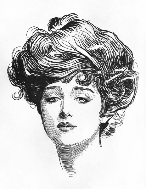 The Gibson Girl -- hair is the iconic image of the gibson girl. They are youthful and have a masculine look to them. Almost always wearing a blouse and a skirt with more freedom.