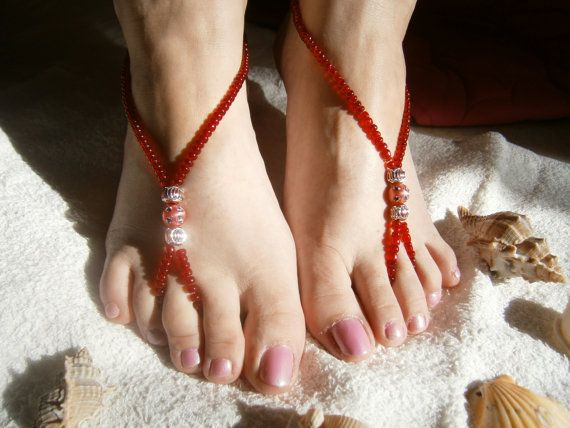 Red Barefoot Sandles Barefoot sandals Slave by TwinklePinkJewelry, €10.00