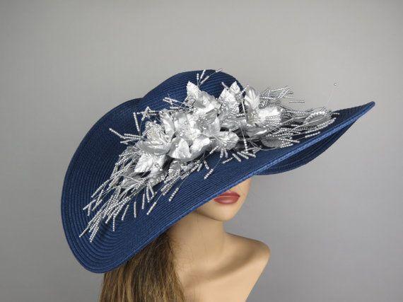 Navy Blue Silver Hat Church Wedding Hat by BridalWorldAccessory