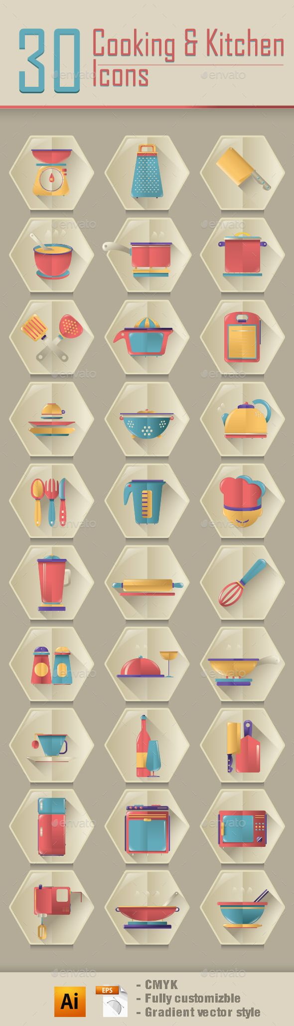 Cooking & Kitchen Icons — Vector EPS #stove #kitchen • Available here → https://graphicriver.net/item/cooking-kitchen-icons/9731206?ref=pxcr
