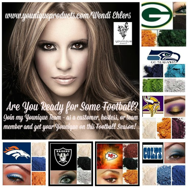 Younique NFL Football looks Broncos Raiders Chiefs Colts Vikings Seahawks Packers https://www.youniqueproducts.com/MelindaMGomez