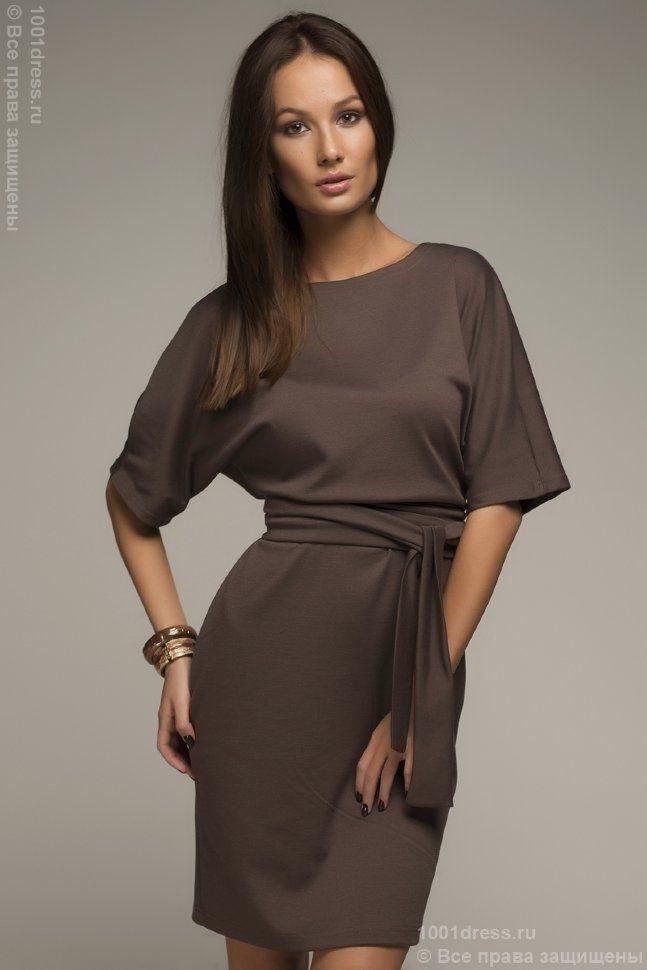 """Платье цвета мокко длины мини с поясом и рукавом """"летучая мышь"""""""
