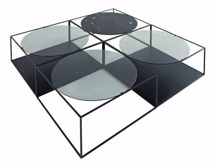 Table basse carrée en métal avec porte-revues intégré de salon G3 - ROCHE BOBOIS