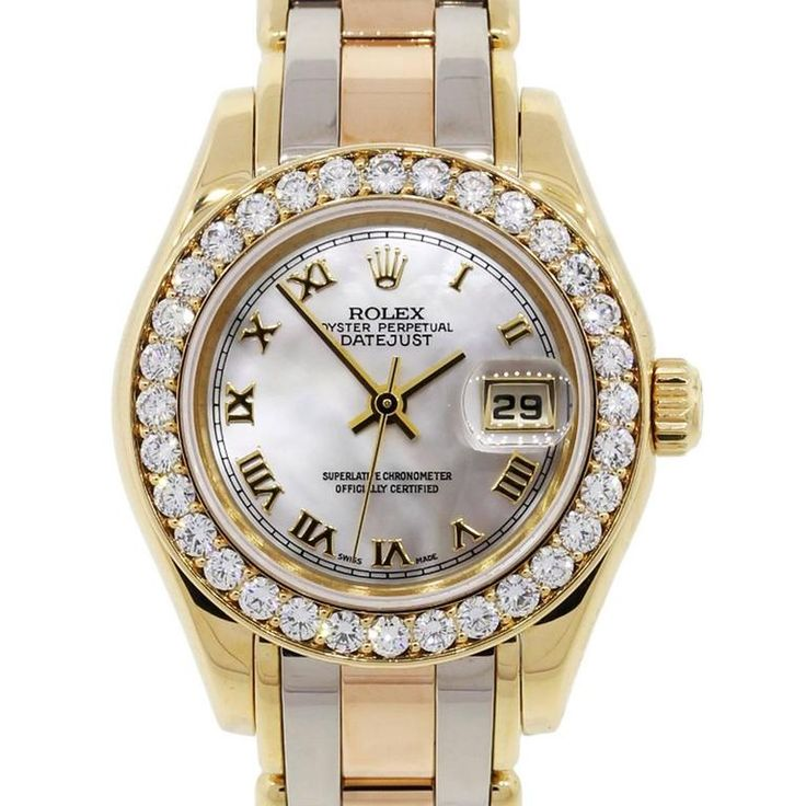 Rolex Ladies Yellow Gold Stainless Steel Tridor Pearlmaster Datejust Wristwatch  | From a unique collection of vintage more jewelry at https://www.1stdibs.com/jewelry/more-jewelry-watches/more-jewelry/