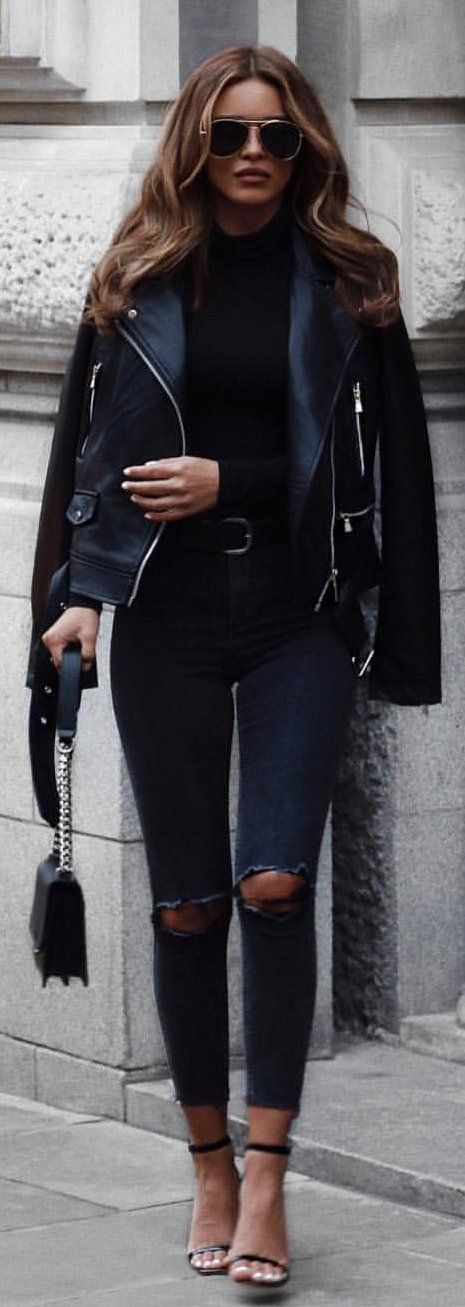 #winter #outfits black leather zip-up jacket and distressed blue denim jeans
