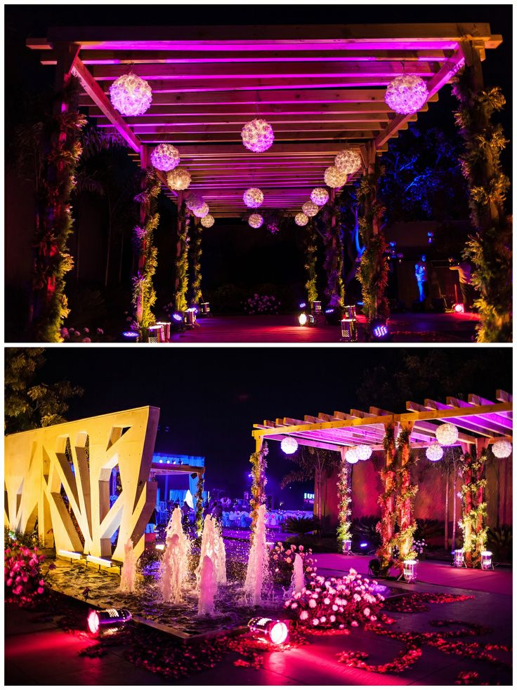 Sangeet decor | garba | Indian wedding | Wedding decor | Real Flowers | Fountain lights | Colors | Wedding photography | Ahmedabad Wedding Photography