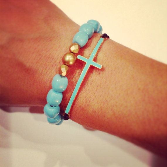 Turquoise cross bracelet set on Etsy, $18.95