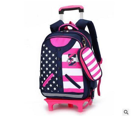 Kid's Travel Trolley luggage Bags On wheels Students Rolling Backpacks For School Children's School Trolley Bag Kid's Suitcase