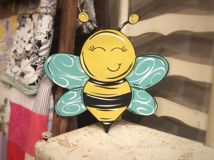 Bumble Bee Unfinished Wooden Cutout Craft Paint By Line