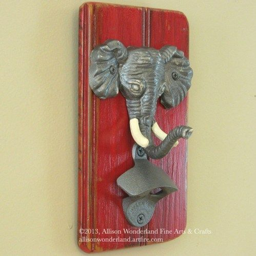 for the man cave.....Wall-mounted Alabama Roll Tide elephant bottle opener wall hanging - $35.00