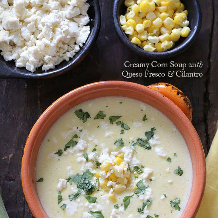 Creamy Corn Soup with Queso Fresco and Cilantro Recipe