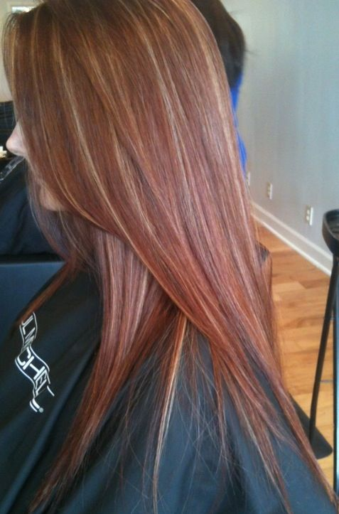looking for a new color for the fall try red blonde highlights as a start i kinda want highlights this would be a great neutral option for school - Auburn Hair Color With Blonde Highlights