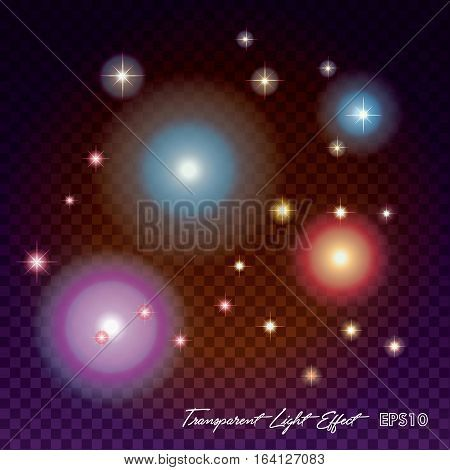 Glows bright star and light fireworks. Flash and glow, sparkle illuminated, flare effect, shine explosion, glitter and twinkle, spark magic. Christmas decoration star burst transparent vector illustration