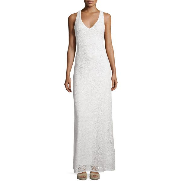 Lilly Pulitzer Aster Knit Lace Racerback Maxi Dress ($215) ❤ liked on Polyvore featuring dresses, resort white, v neck dress, white knit dress, lace dress, white dresses and v-neck maxi dresses