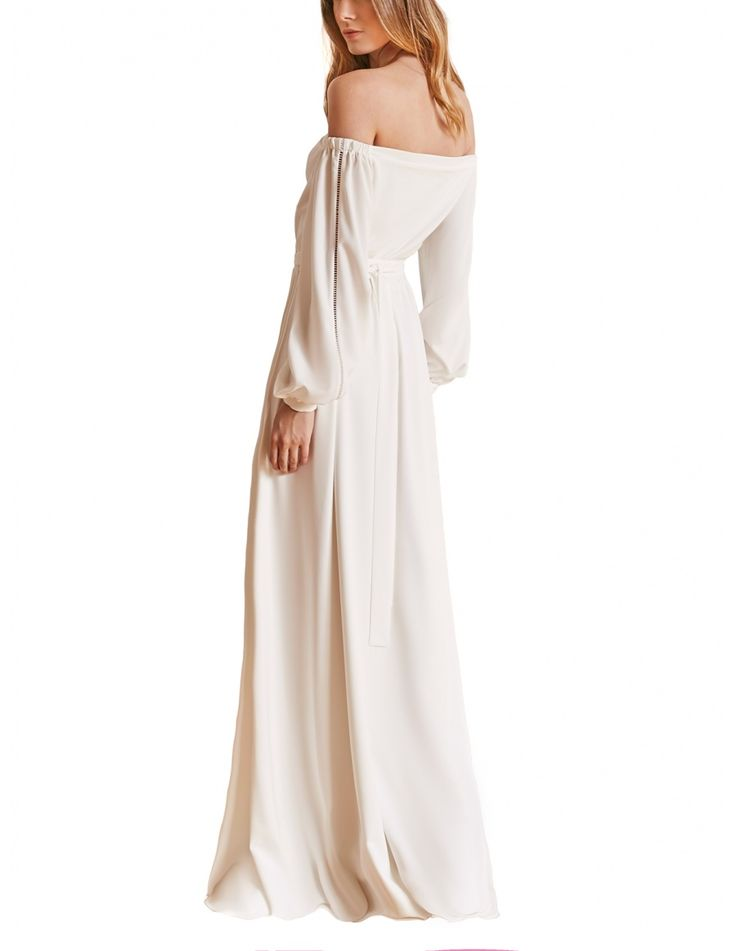 Off-shoulder bridal gown with a row of silk covered buttons along front and ladder insert trim along sleeves. #maisonraquette by Violette and Dana Basoc