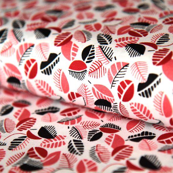 Bavlněná látka Lístečky červeno-černé Mimosa