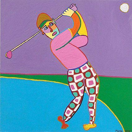 schilderij golf tee par hole bogey kunst club golfer probeert bij de afslag zo ver mogelijk te slaan en heel dicht bij de green te komen