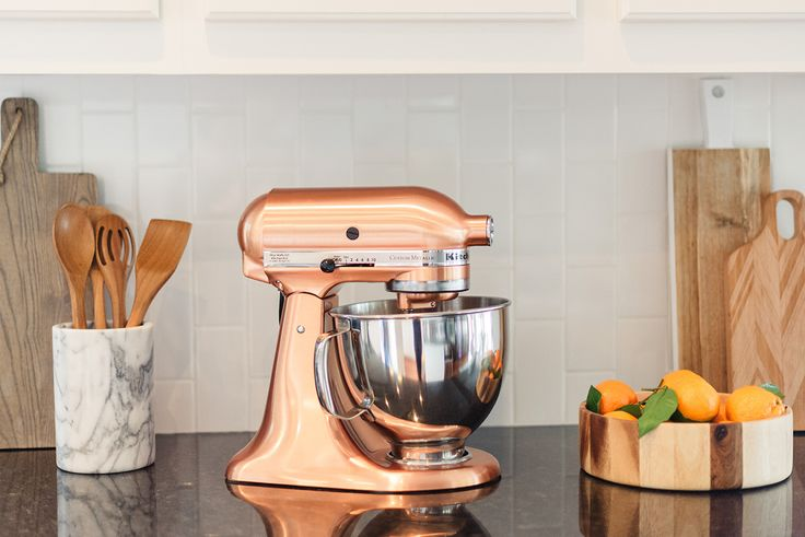 kitchenaid copper mixer from Bed Bath & Beyond and marble accents for your kitchen // wedding registry