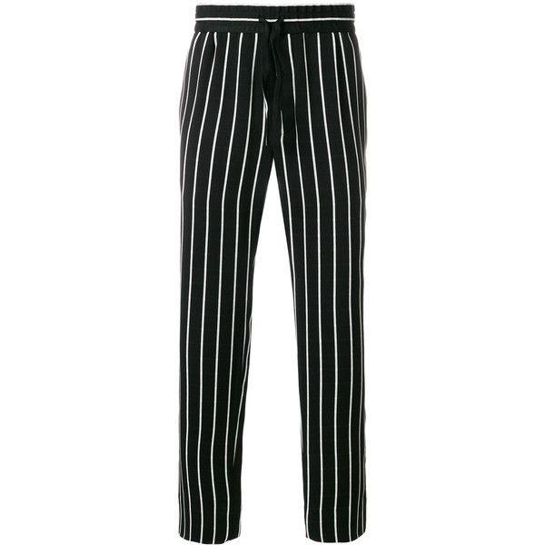 Haider Ackermann striped trousers ($781) ❤ liked on Polyvore featuring men's fashion, men's clothing, men's pants, men's casual pants, black, mens tuxedo stripe pants and mens striped pants