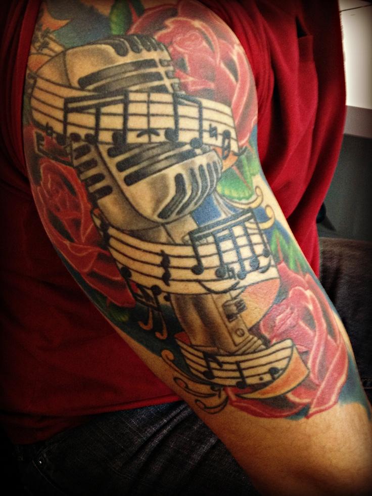 #music #rose #mircorphone #arm #tattoo #gunshow #red # ...