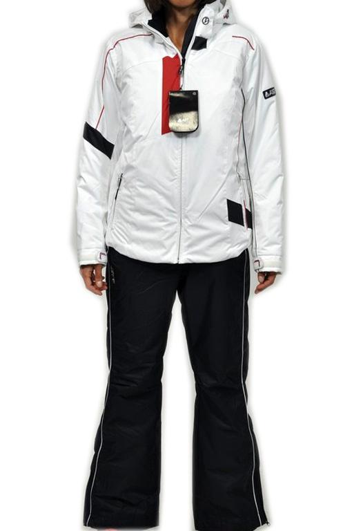 AST Completo sci donna. Giacca in bianco e pantaloni in nero.