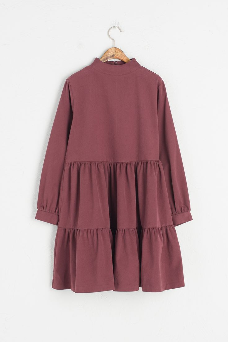 Olive - High Neck Tiered Dress, Wine, £69.00 (http://www.oliveclothing.com/p-oliveunique-20161020-074-wine-high-neck-tiered-dress-wine)