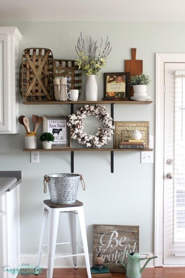 Farmhouse kitchen, wall decor, farmhouse decor, shelf ... on Rustic:1Gdhjdx6F3G= Farmhouse Kitchen  id=73003