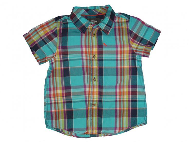 Maat 110 Blouse geruit Blauw/paars/Turquoise/geel/rood/wit  Merk H&M