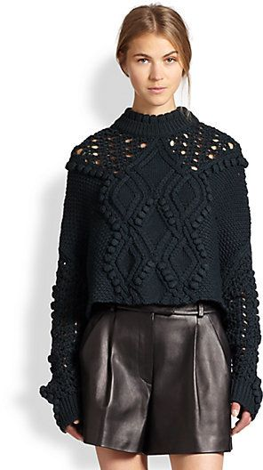 3.1 Phillip Lim Cropped Cable Knit Poncho Sweater