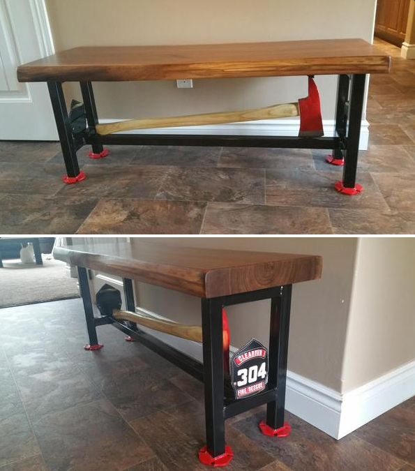 Firefighter Axe Table  photos courtesy of Phil Harrison    Shared by LION48 best Fire Stuff images on Pinterest   Fire dept  Fire  . Firefighter Room Decor. Home Design Ideas