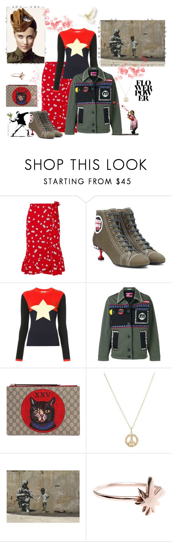 """Sergeant Flower Bomb"" by juliabachmann ❤ liked on Polyvore featuring Miu Miu, Diane Von Furstenberg and Gucci"