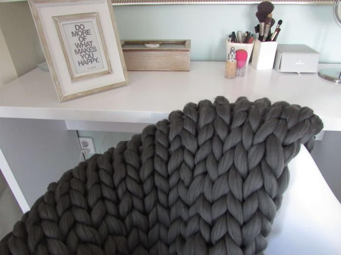 Paturica giganto acril Mid Grey 120x120 - chunky knit blanket mammoth yarn <3