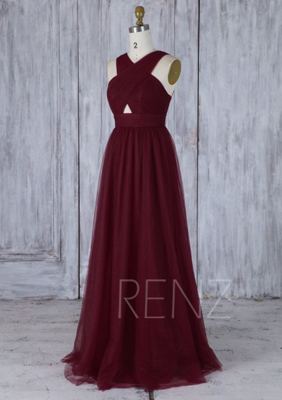 Party Dress Wine Tulle Bridesmaid Dress Criss Cross V Neck Wedding Dress Open Back Prom Dress A-Line Evening Dress Puffy Ball Gown(JS207)