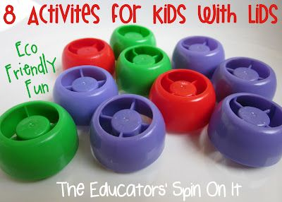 hold on to your lids, 8 activities your kids can do with lids via @The Educators' Spin On It: Baby Food, Idea, Activities For Kids, Earth Day Preschool Activities, Food Pouch, Kids Activities, Eco Friends, Schools Lessons, Fun