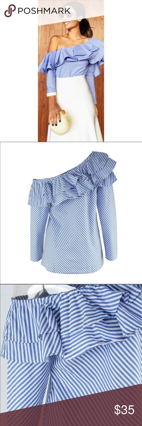 Long sleeve loose white and blue stripe blouse Brand new WOT long sleeve loose blouse. Perfect for summer, beautiful royal blue stripes. Fits S/M  Tags# Adidas/ American apparel / Ann Taylor/ Lilly Pulitzer / Calvin Klein/ Louboutin / Express/ Forever 21/ Free People/ Guess/ H&M/ Lululemon/ MARC JACOBS/ Michael Kors / Nike/ Nordstrom/ PINK/ Urban Outfitters/ Zara/ 7 for all Mankind/ Kate Spade Michael Kors Tops Blouses