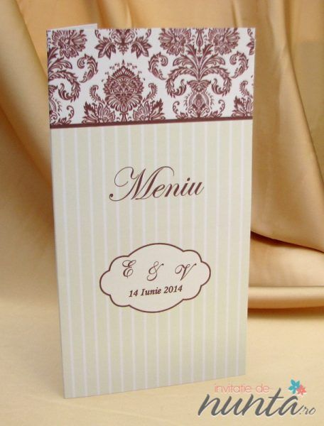 Meniu de nunta Soft Damask, cu dungi crem, model damask maro si chenar.