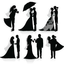 Silhouettes of Groom and Bride