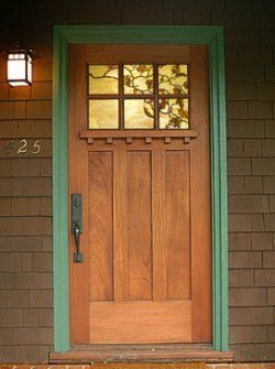 Craftsman entry door with stained glass.  I'm into the craftsman style right now--wish I lived in one!