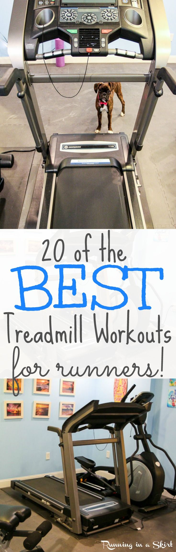 20 of the Best Treadmill Workouts for Runners... from beginner, intermediate to advanced! Great for making the time pass when you need / want to use the treadmill. All fun, creative and effective for your training! Get motivation and tips to make your next workout / cardio unique and different by doing one of these options!