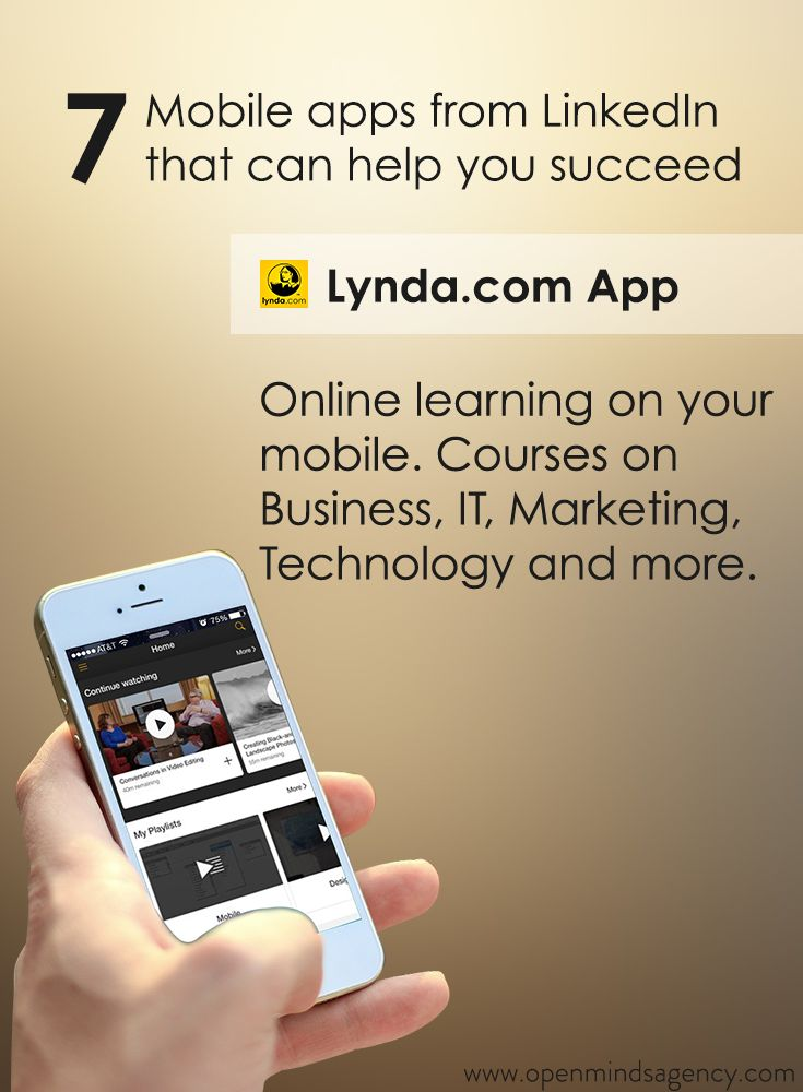 Use Lynda.com App for online learning on your mobile. It has courses on Business, IT, Marketing, Technology and more. Read our blog to know more: [Click on the image] #omagency #linkedIn #mobile