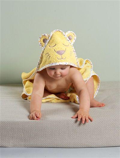 Cape de bain bébé à capuche brodée animaux BLANC LAPIN+BLANC OURSON+JAUNE / LION - vertbaudet enfant